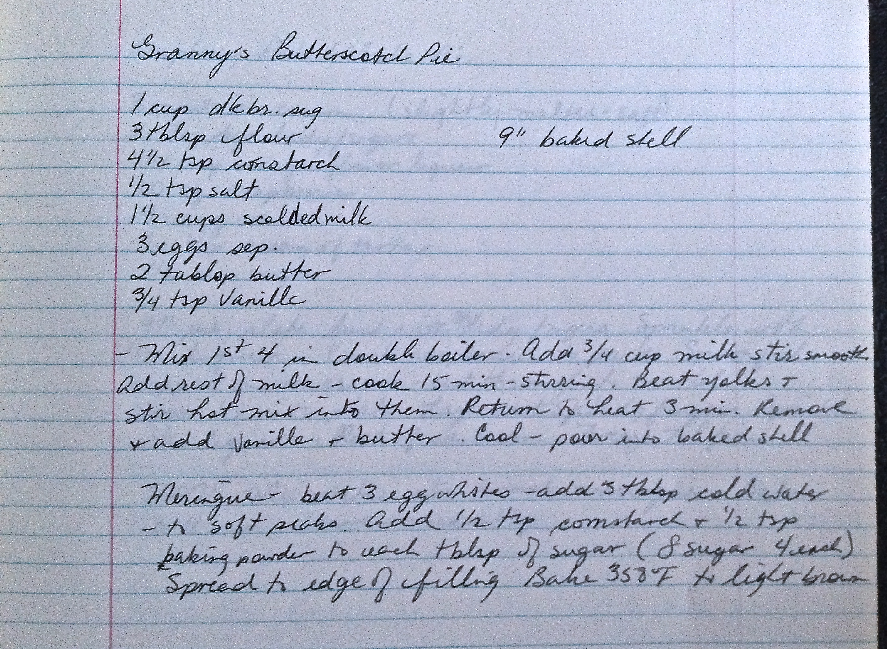 Granny's Butterscotch pie recipe